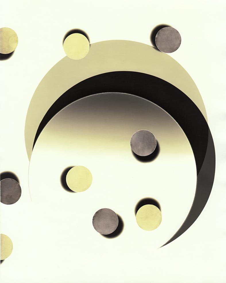 Circle work 13, 2013 cut solarised silver gelatin print (photogram) with toner 25.4 x 20.3 cm