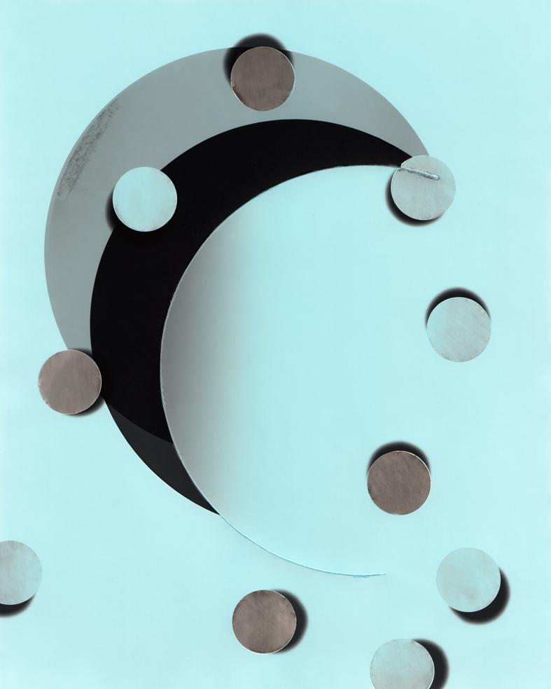 Circle work 14,  2013 c  ut solarised silver gelatin print (photogram) with toner   25.4 x 20.3 cm