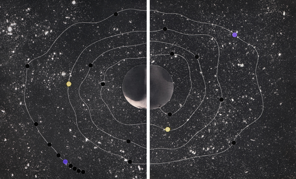 Cosmic Walk #1,  2013   solarised silver gelatin print (photogram) with toner   2 x 25.4 x 20.3 cm