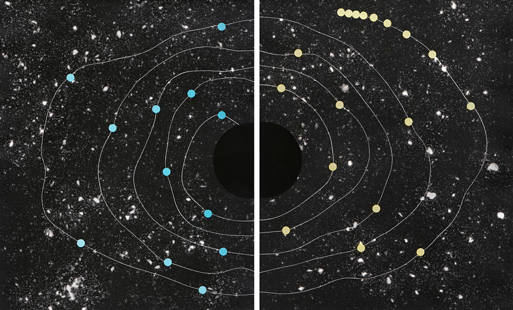 Cosmic Walk #2  2013   solarised silver gelatin print (photogram) with toner 2 x 25.4 x 20.3 cm