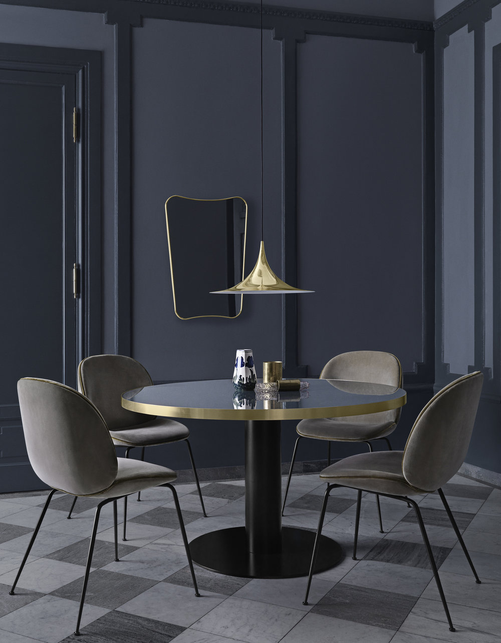 F.A. 33 mirror_Beetle chair - Velluto di Cotone 294, piping 1180_Gubi table 2.0 - granite grey_Semi pendant Ø47- brass.jpg