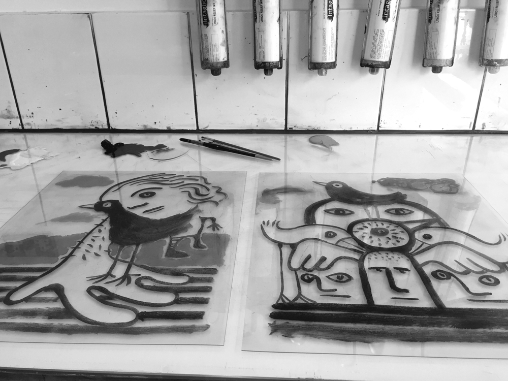 Inking up the acrylic plates