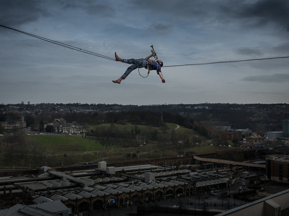 One of the highliners taking to the Sheffield skyline over the Outdoor City this weekend: Band of Birds
