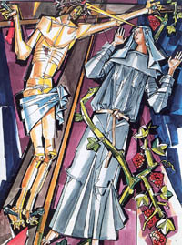 Illustration of Saint Rita of Cascia by János Hajnal in Il fascino di Dio: Profili de agiografia agostiniana  by Fernando Rojo Martínez, O.S.A.  Copyright © 2000 Pubblicazioni Agostiniane Rome. Used with permission.  Original art preserved in the Office of Augustinian Postulator of Causes, Rome