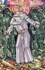 Illustration of Saint John of Sahagún by János Hajnal in Il fascino di Dio: Profili de agiografia agostiniana by Fernando Rojo Martínez, O.S.A. Copyright © 2000 Pubblicazioni Agostiniane Rome. Used with permission. Original art preserved in the Office of Augustinian Postulator of Causes, Rome