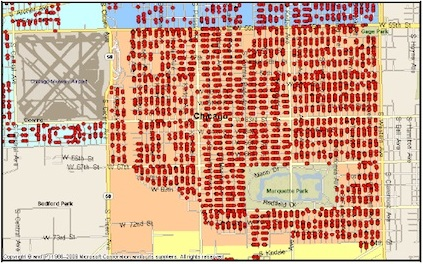 Map of foreclosed homes in the parish neighborhood in 2011.  Photo Credit: © 2011 Southwest Organizing Project