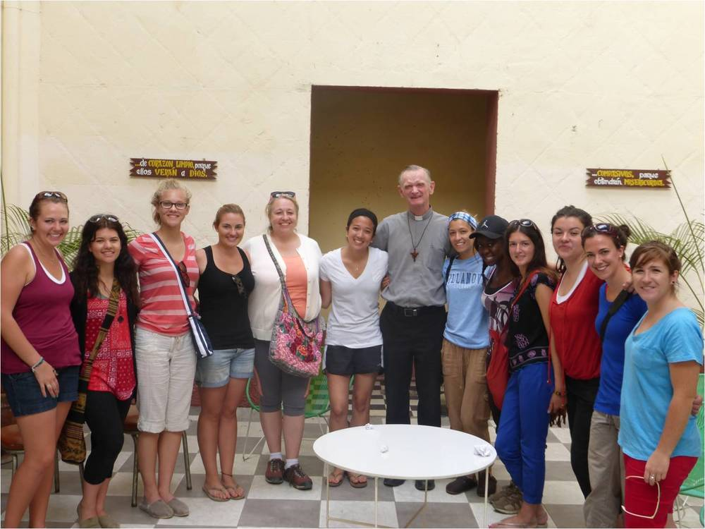 Bishop Dan Turley, O.S.A. visits with the students from Villanova College while they are in Peru