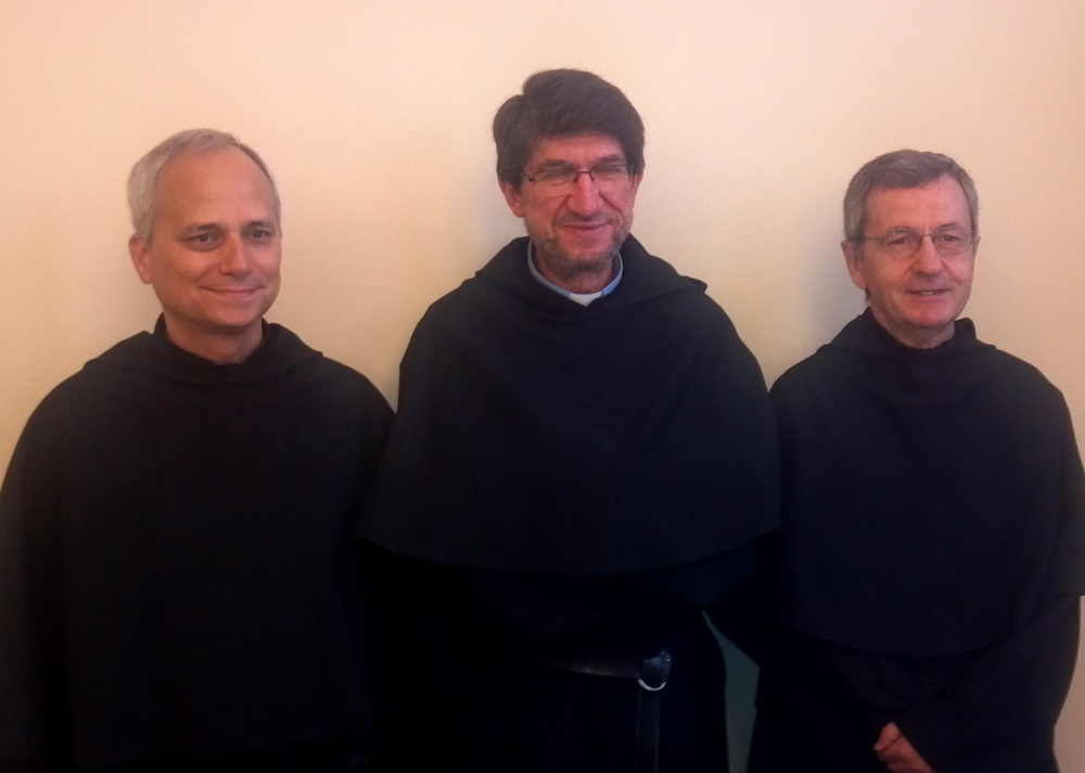 ROME, ITALY (from left): Rev. Robert F. Prevost, O.S.A., outgoing Prior General; Most Rev. Alejandro Moral, O.S.A., newly elected Prior General; Rev. Miguel Angel Orcasitas, O.S.A., former Prior General