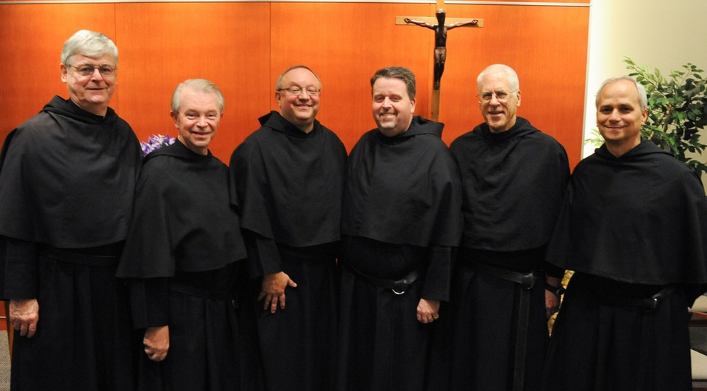 "From left:  Rev. R. William ""Bill"" Sullivan, O.S.A., Fourth Provincial Counselor; Rev. Richard J. McGrath, O.S.A., Ph.D., Third Provincial Counselor; Very Rev. Bernard C. Scianna, O.S.A., Ph.D., Prior Provincial; Rev. Thomas R. McCarthy, O.S.A., Second Provincial Counselor; Brother Thomas P. Taylor, O.S.A., Province Secretary; and Rev. Robert F. Prevost, O.S.A., J.C.D., Vicar Provincial and First Provincial Counselor"