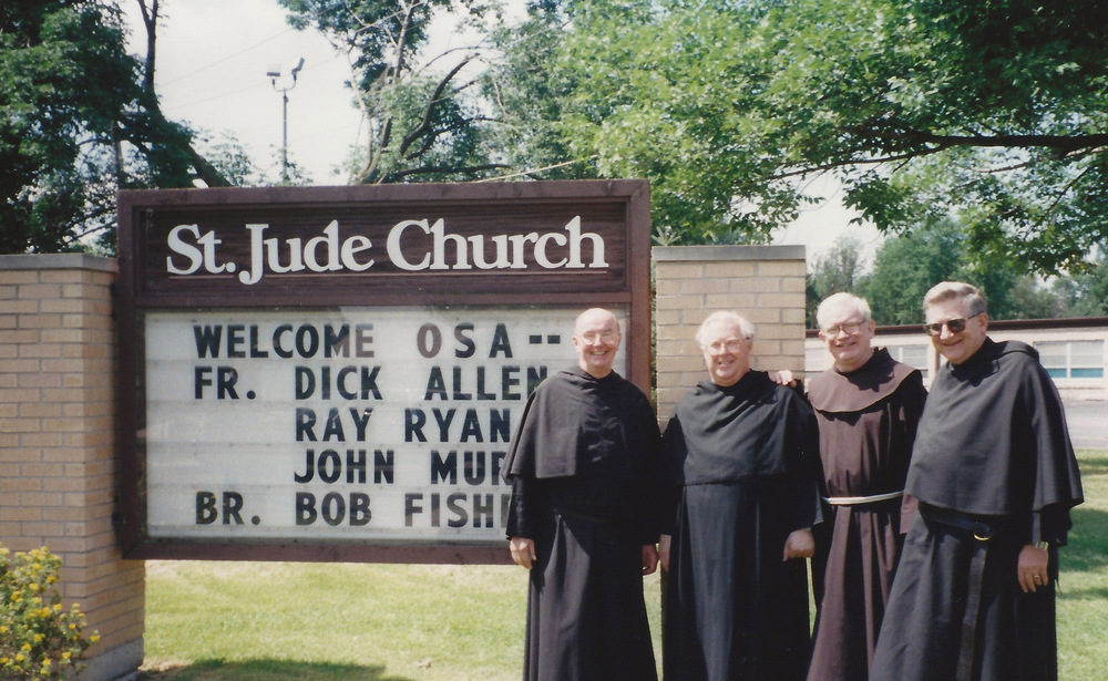 Fr. Ray Ryan, O.S.A. (left), present at the welcoming reception for the Augustinians at  St. Jude Parish  in the  Diocese of Joliet, Illinois