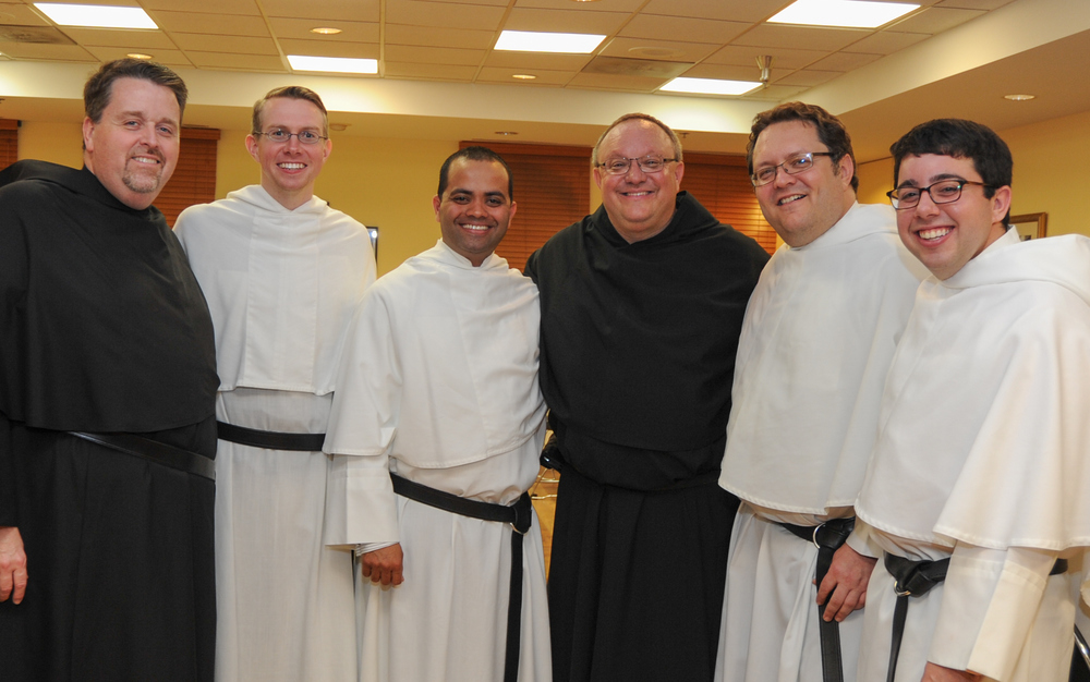 From left: Fr. Tom McCarthy, O.S.A., Director of Vocations; Nick Mullarkey, O.S.A. Novice; Gladson Dabre, O.S.A. Novice; Very Rev. Bernard C. Scianna, O.S.A., Ph.D., Prior Provincial; Joe Siegel, O.S.A. Novice; Colin Nardone, O.S.A. Novice