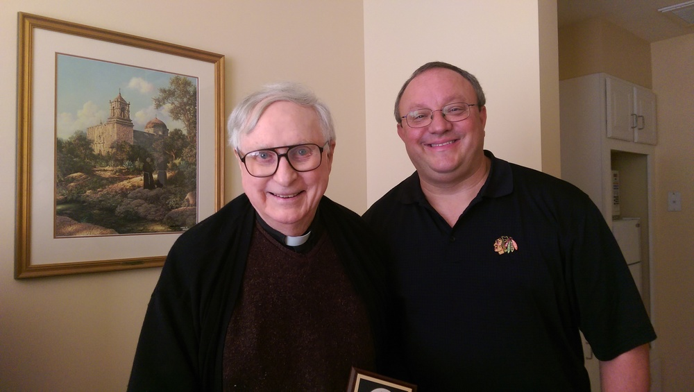 Father Jhhn Gaffney, O.S.A.  (left),  with Father Bernie Scianna, O.S.A., Prior Provincial, celebrates 75 years of Augustinian vows in 2014