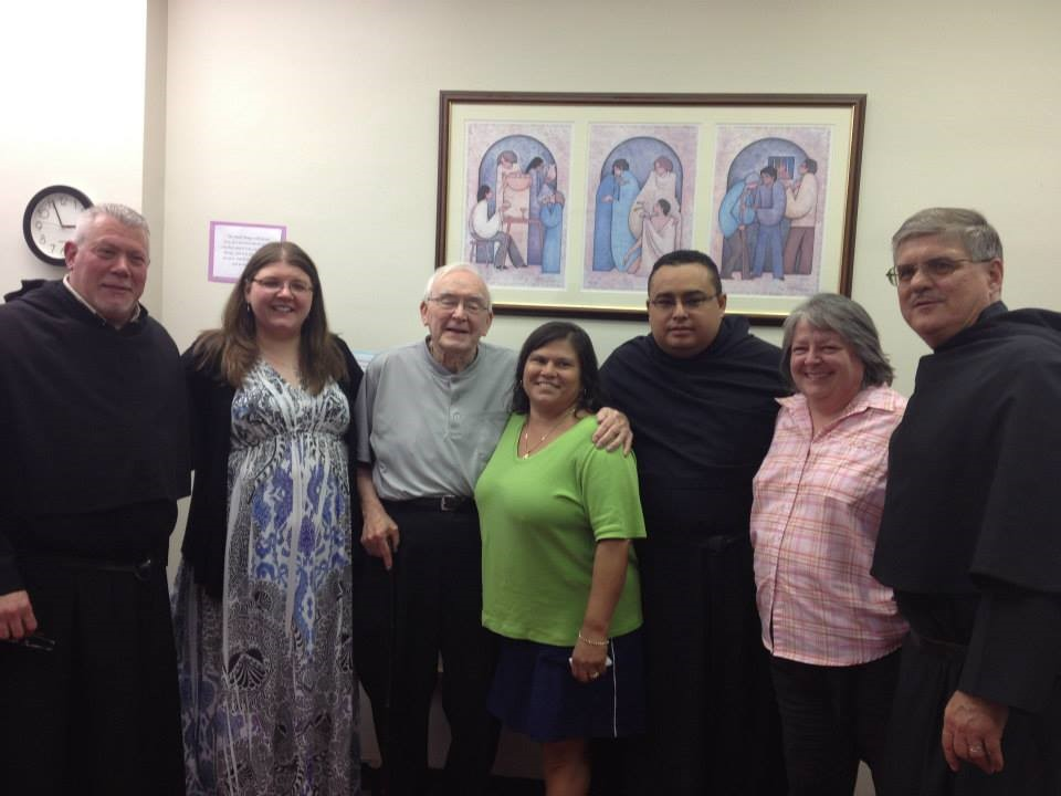 Jenny Meehan (second from left), with Frs. Tony Pizzo, O.S.A., John Flynn, O.S.A., Oneida White, Fr. David Vargas, O.S.A., Annette Matuszewski, and Fr. Bill Lego, O.S.A.