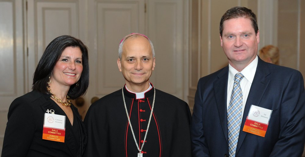 Catharine and Edward Hennessy, 2016 Augustinian Gala Co-Chairs, with Bishop Robert Prevost, O.S.A.
