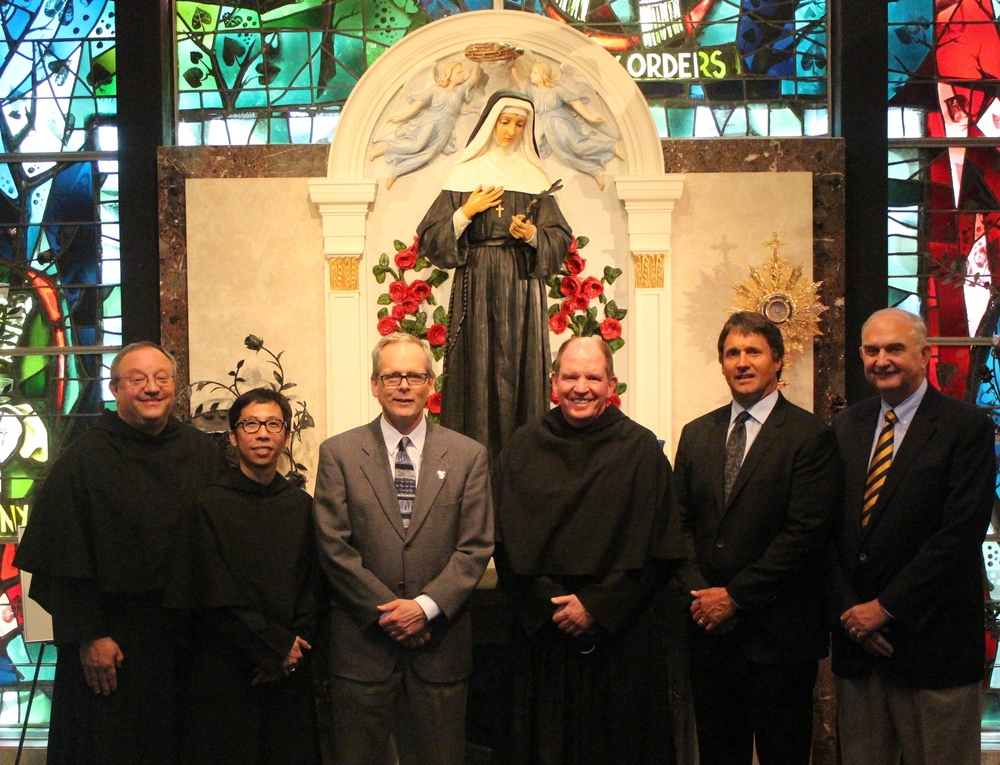 Chicago, IL:  St. Rita High School announces new leadership team effective July 1 (from left) Very Rev. Bernard C. Scianna, O.S.A., Ph.D., Prior Provincial; Fr. Richie Mercado, O.S.A., Director of Augustinian Mission and Chaplain; Brendan Conroy, Principal; Fr. Paul W. Galetto, O.S.A., Ph.D., Head of School and CEO; Mike Zunica, President and Chief Advancement Officer; and Ernie Mrozek, Chairman of the Board