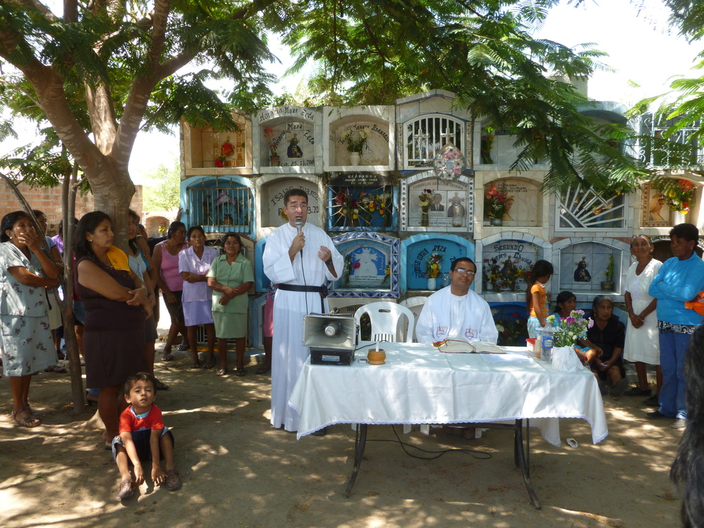 Fr. Robert Basler, O.S.A., spent one pastoral year in Chulucanas, Peru, giving many prayer services like this one seen here