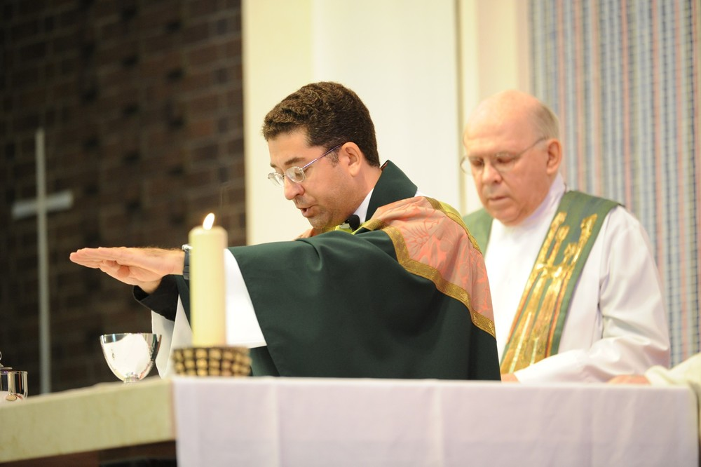 Fr. Robert Basler, O.S.A., celebrated his first Mass of Thanksgiving with Fr. Jim Friedel, O.S.A.  He celebrated this Mass at his home parish of Saint Irenaeus in Park Forest, Illinois, the day following his 2013 priestly ordination