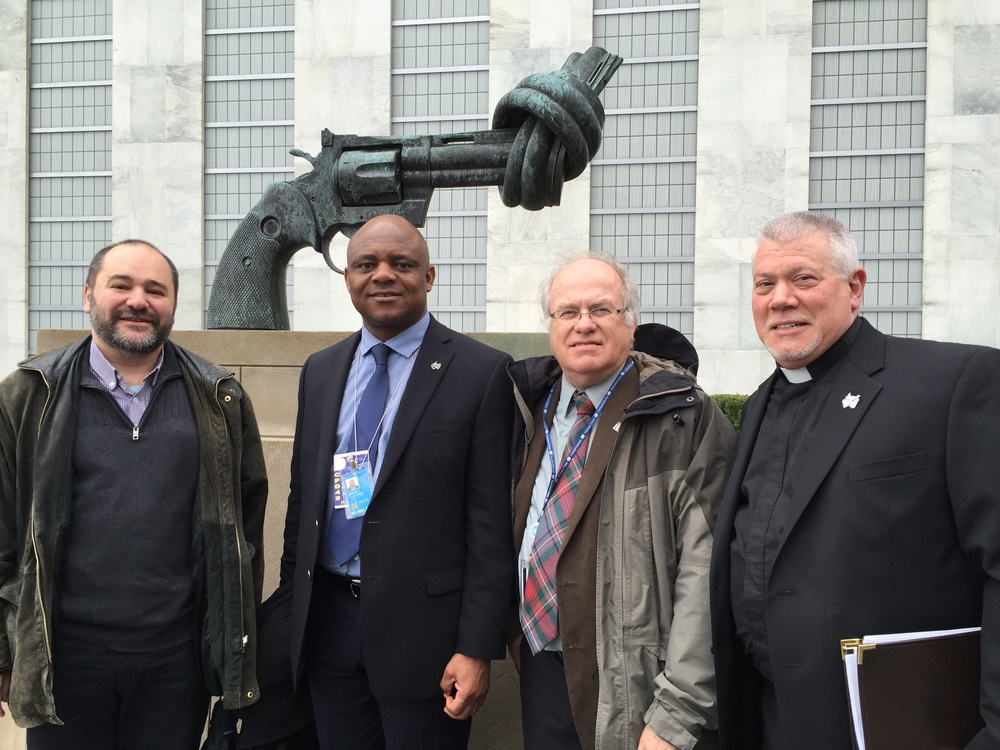 Father Tony Pizzo, O.S.A. (at right) presented this speech through Augustinians International, the Order's Nongovernmental Organization at the United Nations.  Joining him are (from left) Rolando Garcia, O.S.A., from the Spanish Province of Augustinians; Emeka Xris Obiezu, O.S.A., a permanent representative to the UN at Augustinians International; and Fr. Robert Dueweke, O.S.A., delegate from the Midwest Augustinians to the UN at Augustinians International