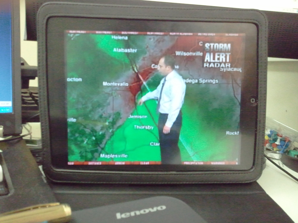 My local ABC affiliate does a PHENOMENAL job of covering severe weather. This is a picture of the live radar/weather coverage that they simulcast to uStream.com - makes great for office viewing on my iPad.