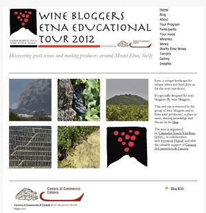 La home page del  sito  del tour