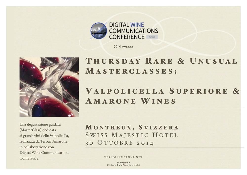Il manifesto della Masterclass  dedicata  alla Valpolicella