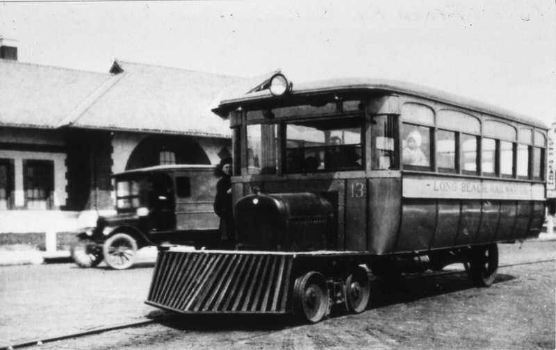 LIRR 1924 Long Beach Ry Co Railbus No. 13-at Station-Long Beach-View NE-Keller).jpg