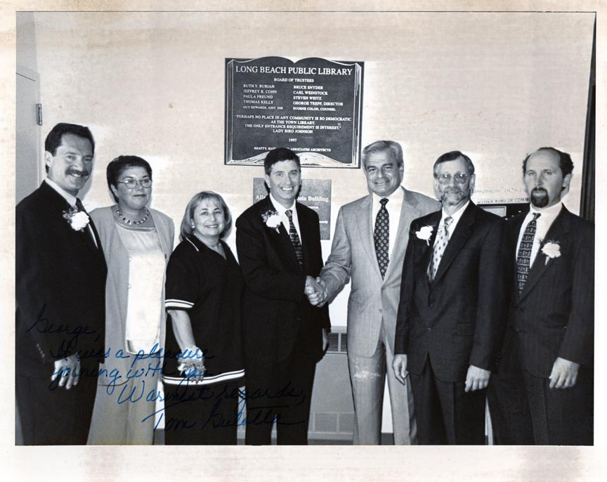 LONG BEACH PUBLIC LIBRARY 1998 GRAND OPENING L-R , BRUCE SNIEDER PAUL FREUND, RUTH BURIAN, JEFFREY COHEN, TOM GULOTTA, GEORGE TREPP, GUY EDWARDS.jpg