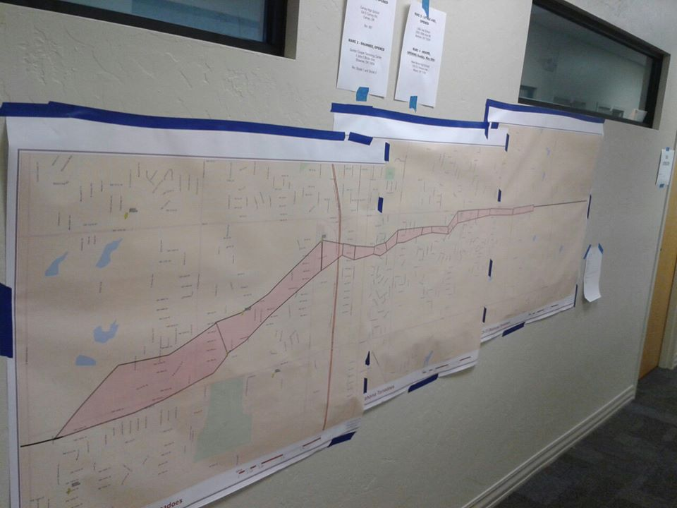 A map in Headquarters showing the path the tornado took.