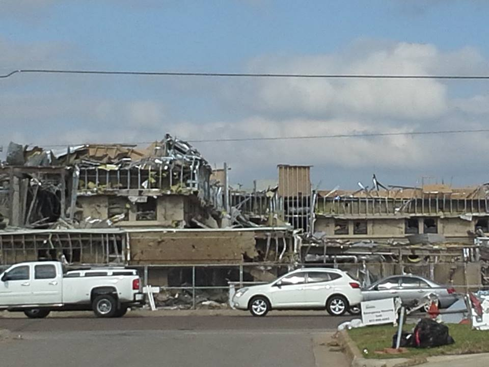 Damage to the hospital in Moore, OK as a result of the tornado.