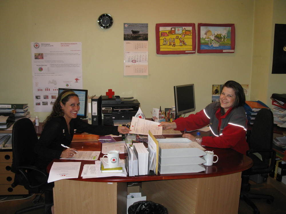 Lisa Ghali and Santa Braza at the offices of the Latvian Red Cross