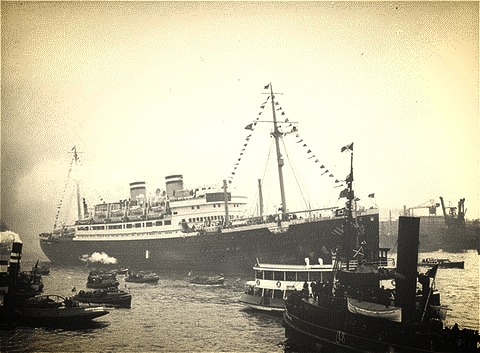MS St. Louis surrounded by boats at Havana port. Aboard were 937 mostly German Jewish refugees seeking safety from war-torn Europe. The ship was turned away from Cuba, United States and Canada and had to return to Europe.