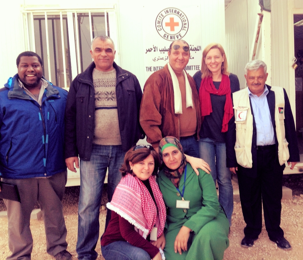Jordanian Red Crescent volunteers join ICRC when they visit the camp to provide RFL services.