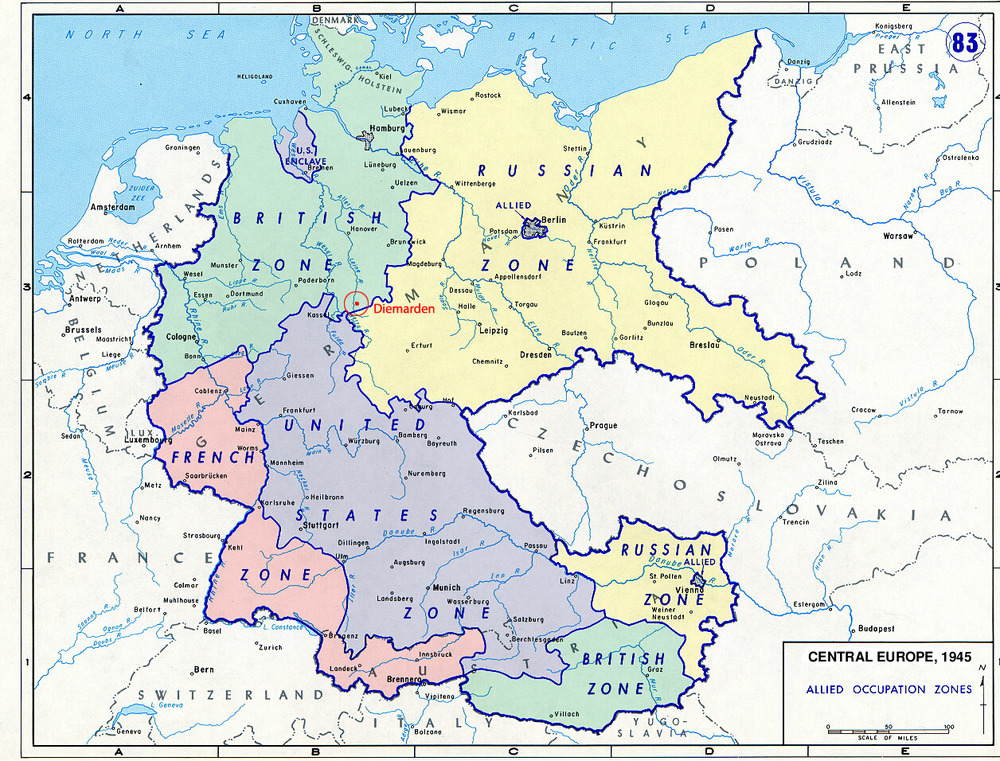 At the end of WWII, Germany was divided into four occupation zones by the Allied Powers for administrative purposes.