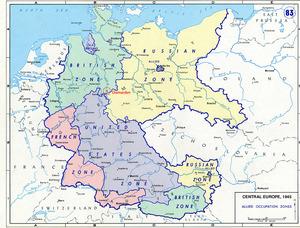 Al finalizar la Segunda Guerra Mundial, Alemania fue dividido en cuatro zonas de ocupación por los poderes de losaliados y por razones administrativas.