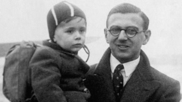 Nicholas Winton photographed with one of the children he rescued in 1939.