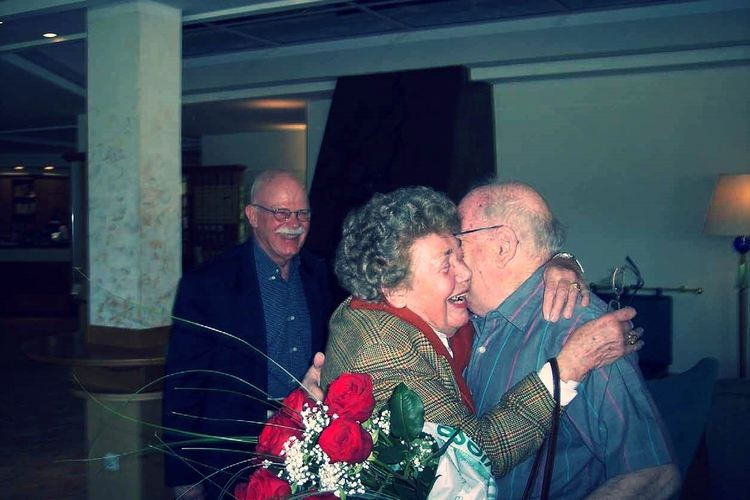Ullmann and Hubner embrace after almost 75 years of separation.