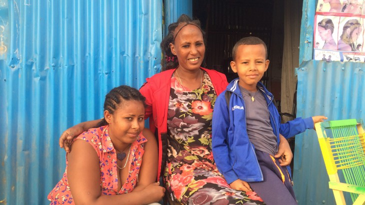 Lemlem (center) with the daughter she had not seen in 18 years and her younger son in Ethiopia.