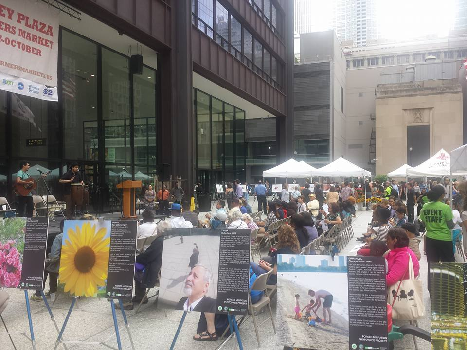 Photovoice Exhibit is displayed at Daley Plaza, a project from Marjorie Kovler Center and Sulzer Regional Library. Photo credit: American Red Cross - Chicago and Northern Illinois Region Chapter.