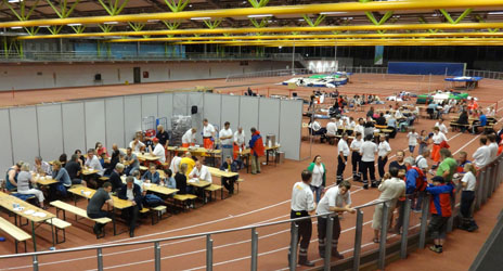 German Red Cross staff and volunteers from the Bavarian branch turned a sports hall into a temporary facility for the people unable to return to their homes after the Munich attack and city`s lockdown. Photo Credit: Christoph Janello, German Red Cross