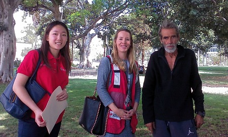 [From left to right] Juliana An, Kerry Khan, and Red Cross client. Photo Credit: American Red Cross Los Angeles Region Chapter.