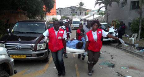 Photo of the Gabonese Red Cross providing aid after protests. Photo Credit: Gabonese Red Cross