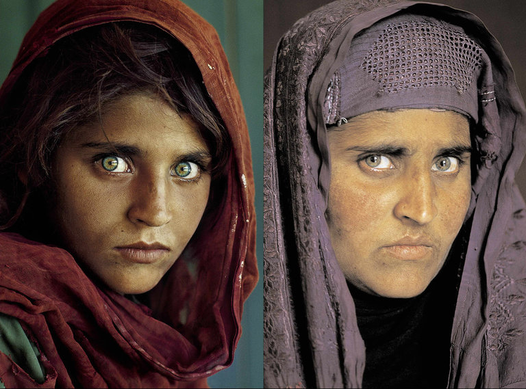 Sharbat Gula at 12 years old photographed in 1985 and then right twenty years later. Photo Credit : Steve McCurry/National Geographic Society via Agence France-Presse