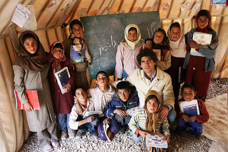 """School tent in Ghashghaie nomad tribe in the Fars province, Iran.""  Photo credit : Shapour Sh."