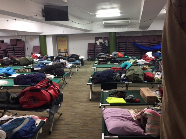 Our staff shelter – the basement of a church where we slept with 70 new friends