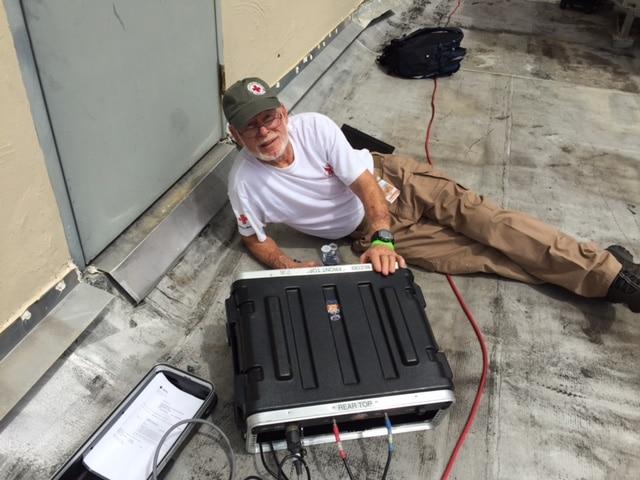 Glen working on a VSAT.