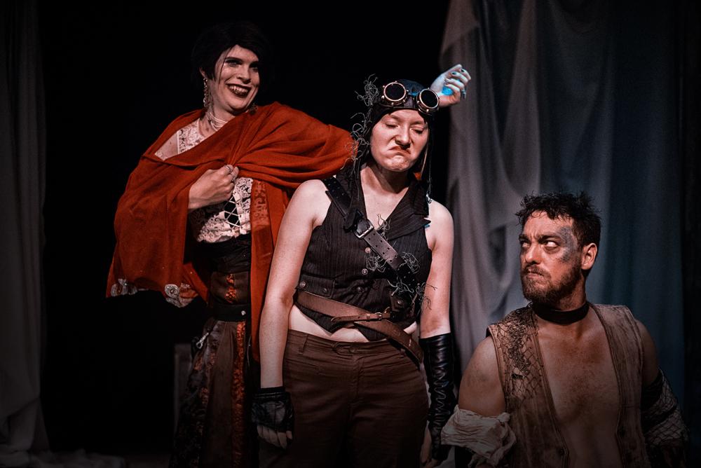 Janet Holloway-Thomas as Trinculo, Jean E. Sleight as Stephano, Matt Gilworth as Caliban