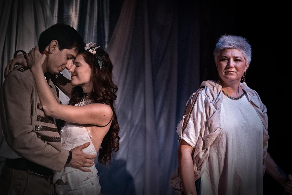 Roger Estrada as Ferdinand,Angelica Duncan-Basile as Miranda, Annie St. John as Prospero