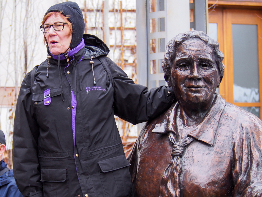 Aritha van Herk and Emily Murphy: two Alberta mavericks.   Photo: Leo Aragon