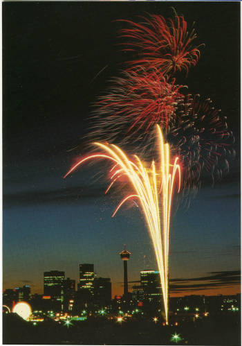 Fireworks over Calgary (Photo: Calgary Public Library, Postcards from the Past)