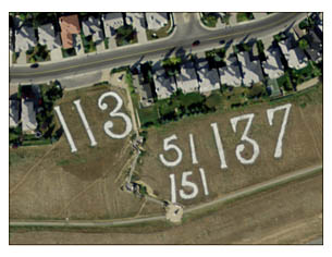 An aerial view of Battalion Park on Calgary's Signal Hill. The numbers represent a few of the infantry units that trained at Sarcee Camp during World War I: the 113th Lethbridge Highlands Infantry Battalion, the 51st Canadian Infantry Battalion, the 151st Central Alberta Battalion and the 137th Infantry Battalion of Calgary. (Photo: City of Calgary)
